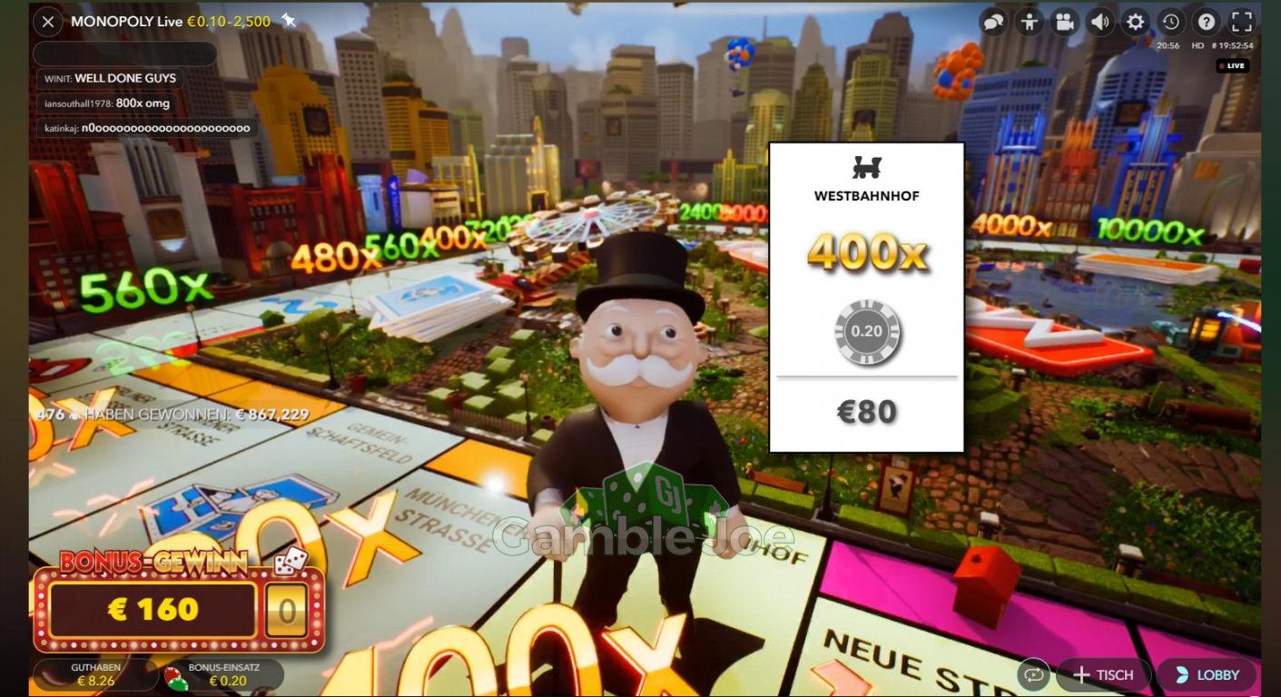 Monopoly Live Gewinnbild von Mammon
