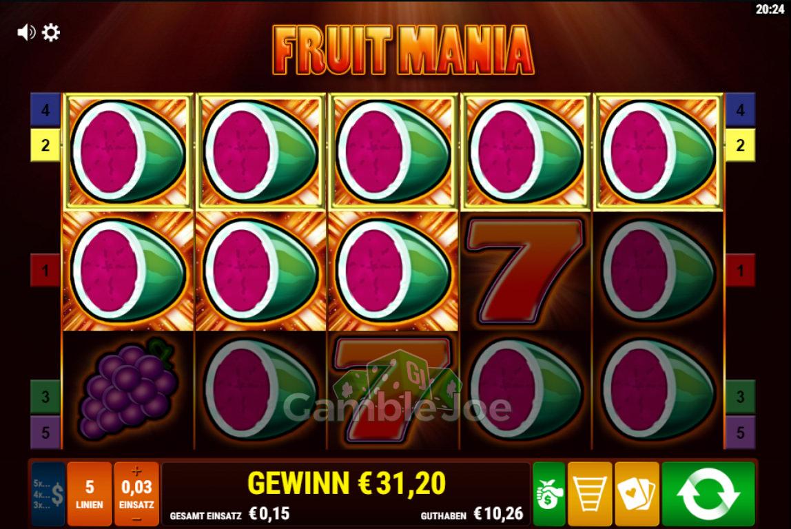 Fruit Mania Gewinnbild von Steinlaus