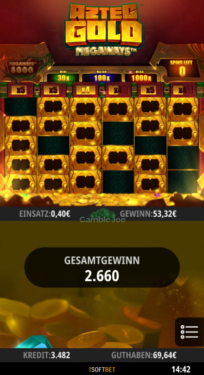Aztec Gold Megaways Gewinnbild von Gamble