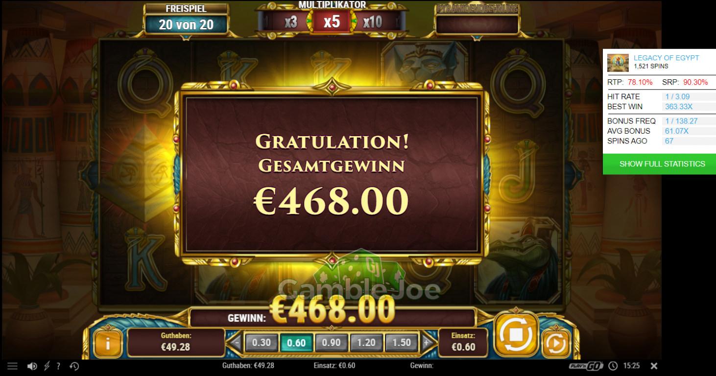 Legacy of Egypt Gewinnbild von GamblerNeuling