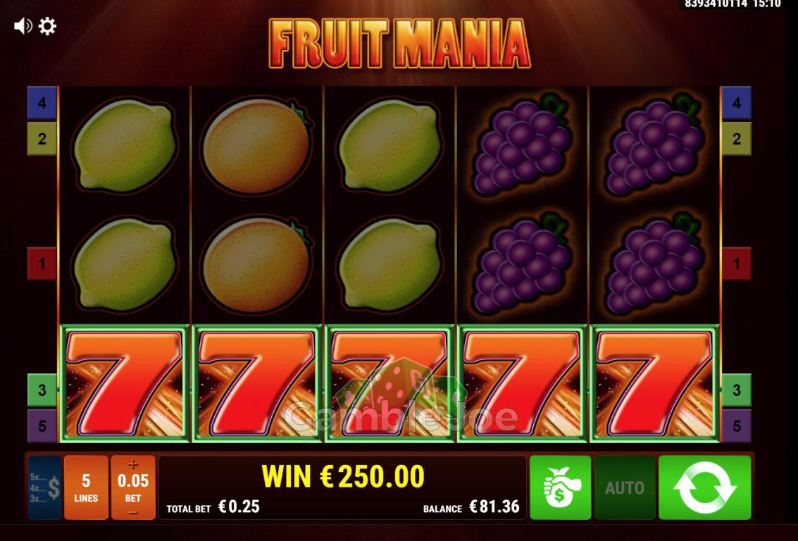 Fruit Mania Gewinnbild von Begbie