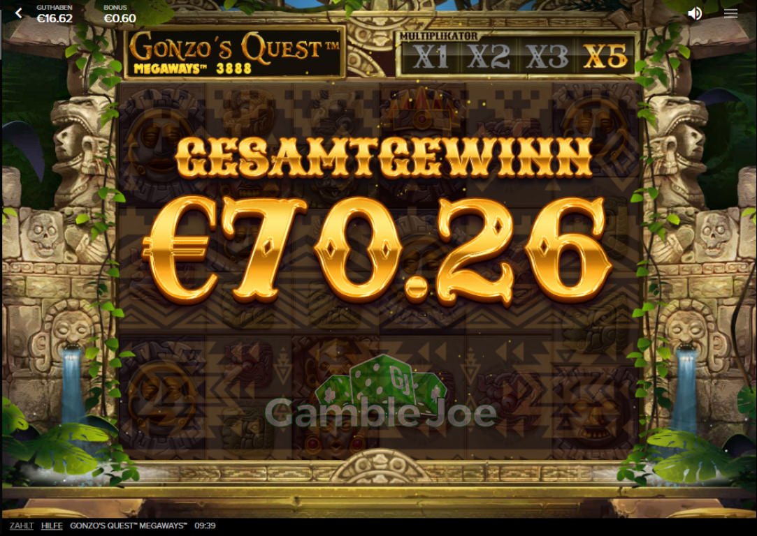 Gonzo's Quest Megaways Gewinnbild von Christian1337