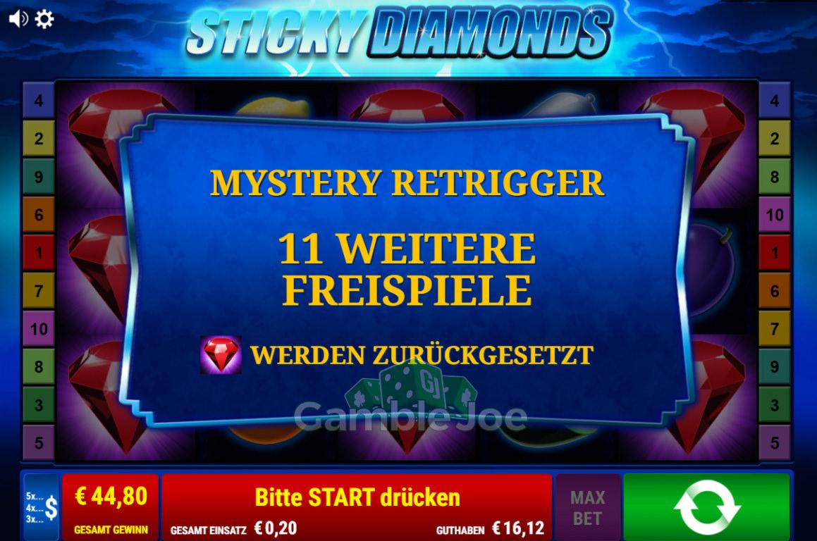 Sticky Diamonds Gewinnbild von Steinlaus