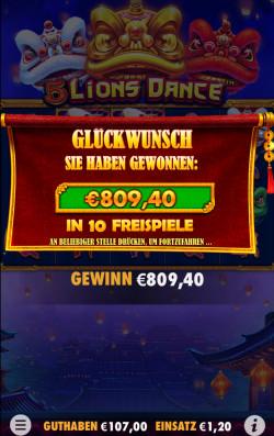 5 Lions Dance Gewinnbild