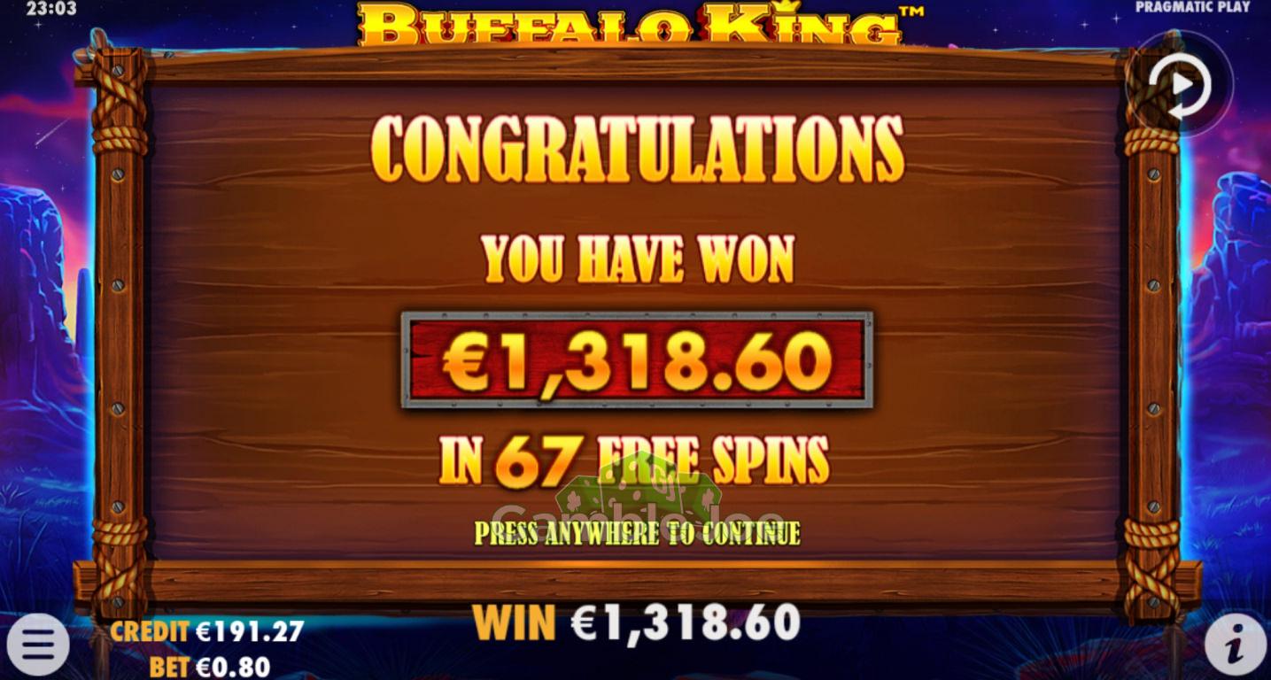 Buffalo King Gewinnbild von Sascha85