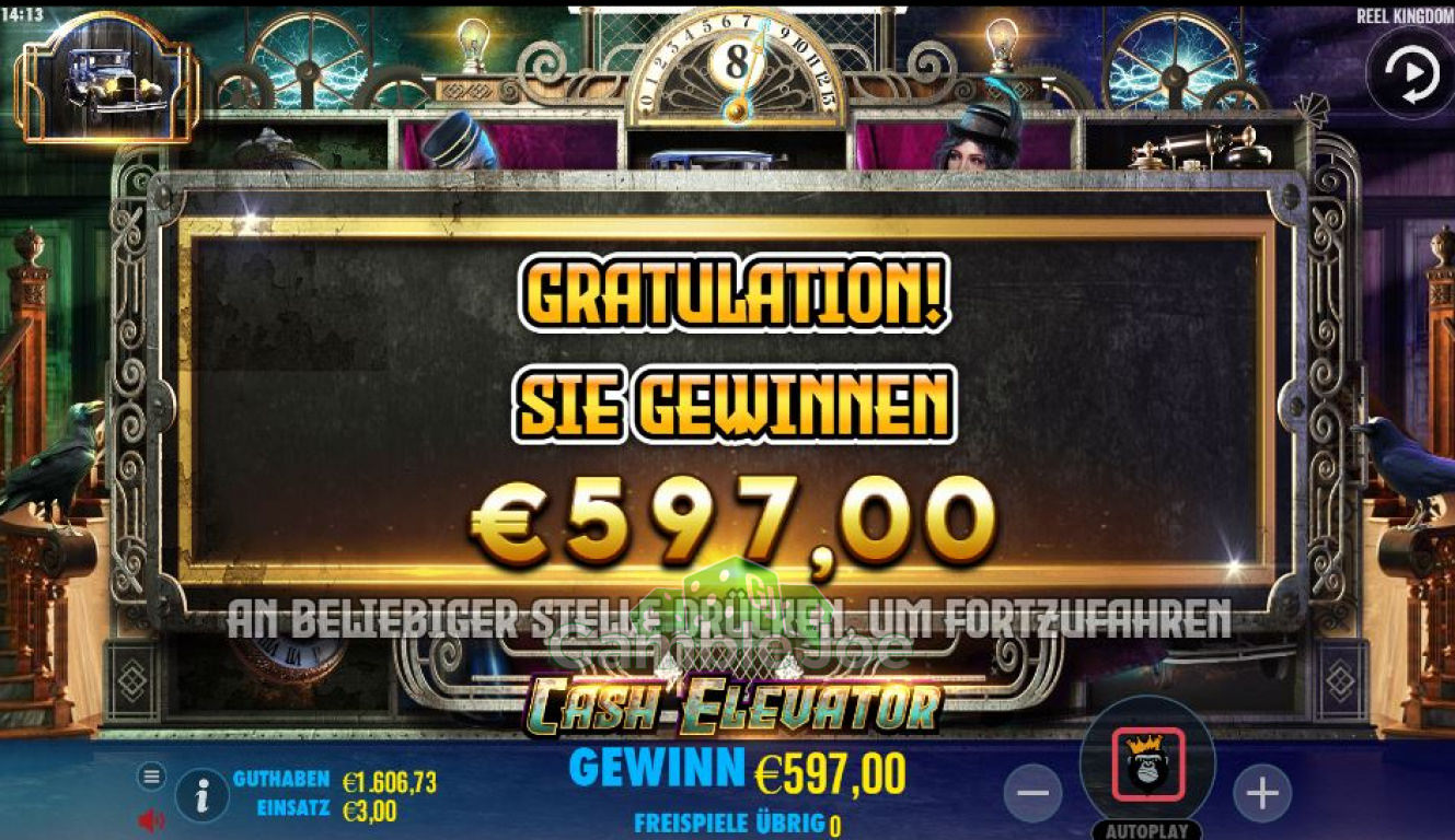 Cash Elevator Gewinnbild von Chris26