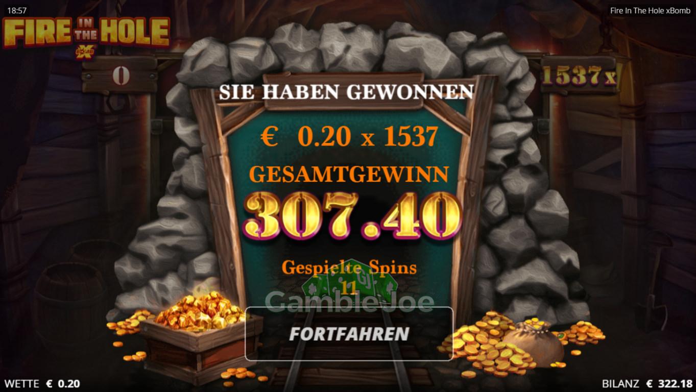 Fire in the Hole xBomb Gewinnbild von GamblerNeuling