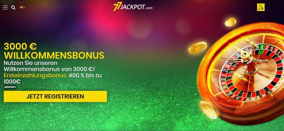 Beispiel für ein unseriöses Casino - 77Jackpot.com
