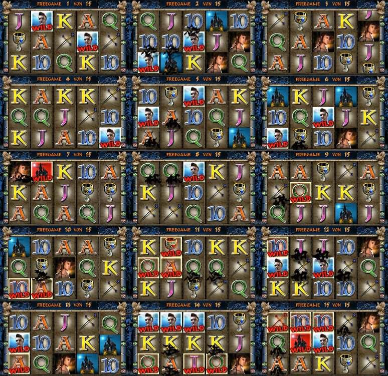 Screenshot von jedem einzelnen Vampires Night Freispiel