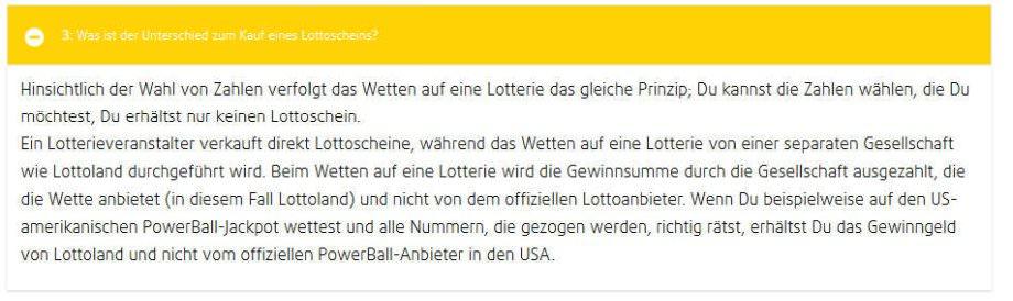 Lottoland FAQ mit Hinweise auf das Zweitlotterie System