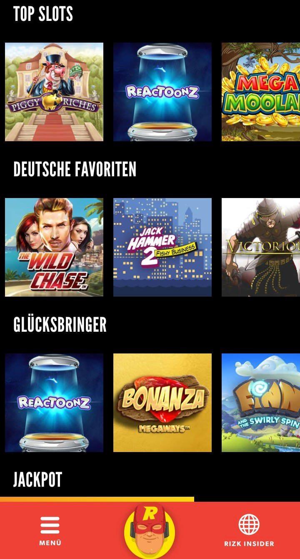 Startseite der Rizk Android Casino App