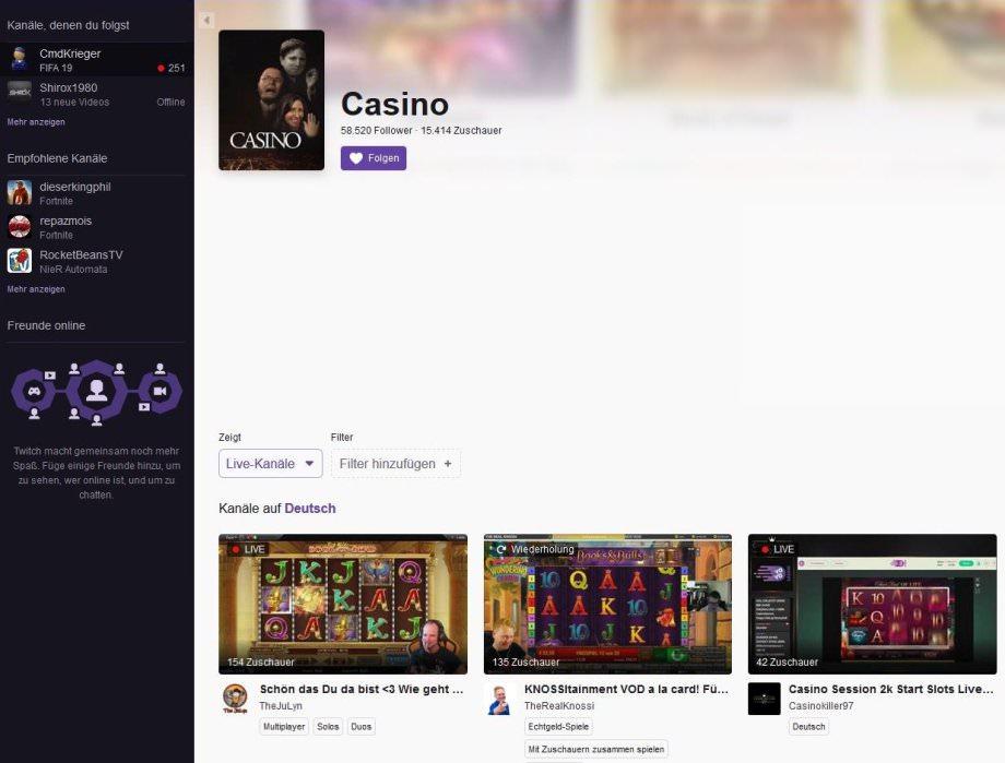 Casino-Kategorie bei Twitch