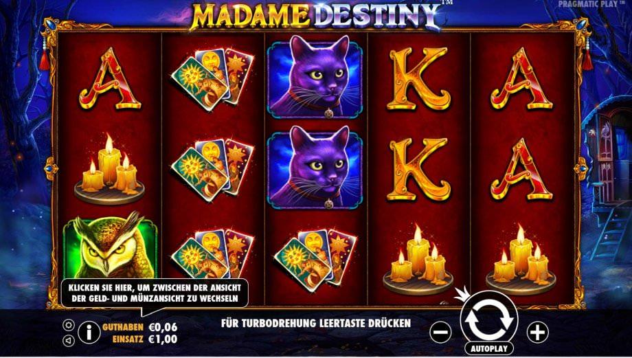 Der Spielautomat Madame Destiny von Pragmatic Play