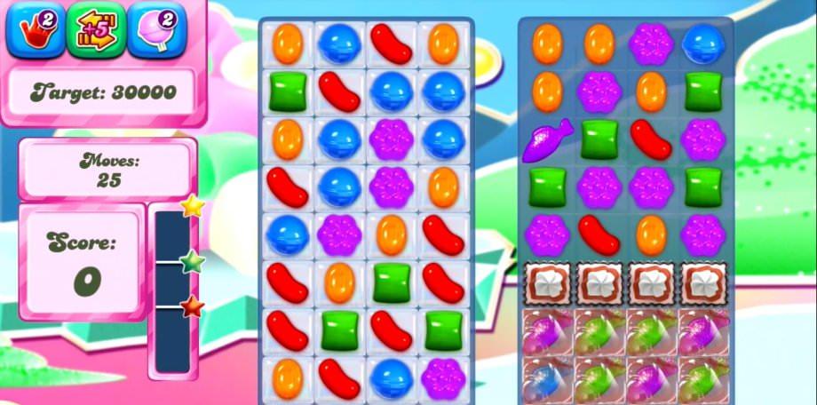 Ein Screenshot der Candy Crush Saga vom Android Smartphone
