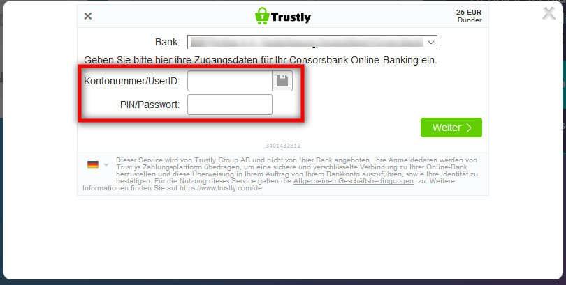 Bank und Kontodaten eingeben