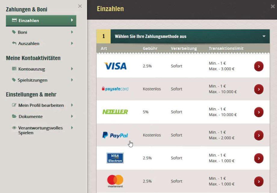 PayPal als Zahlungsoption auswählen