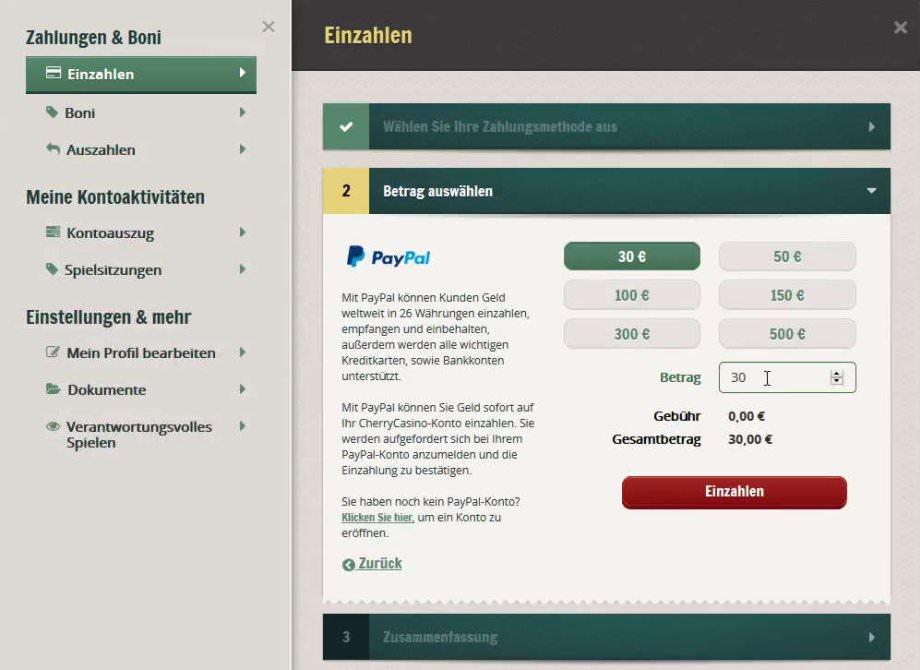 Einzahlungsbetrag eingeben
