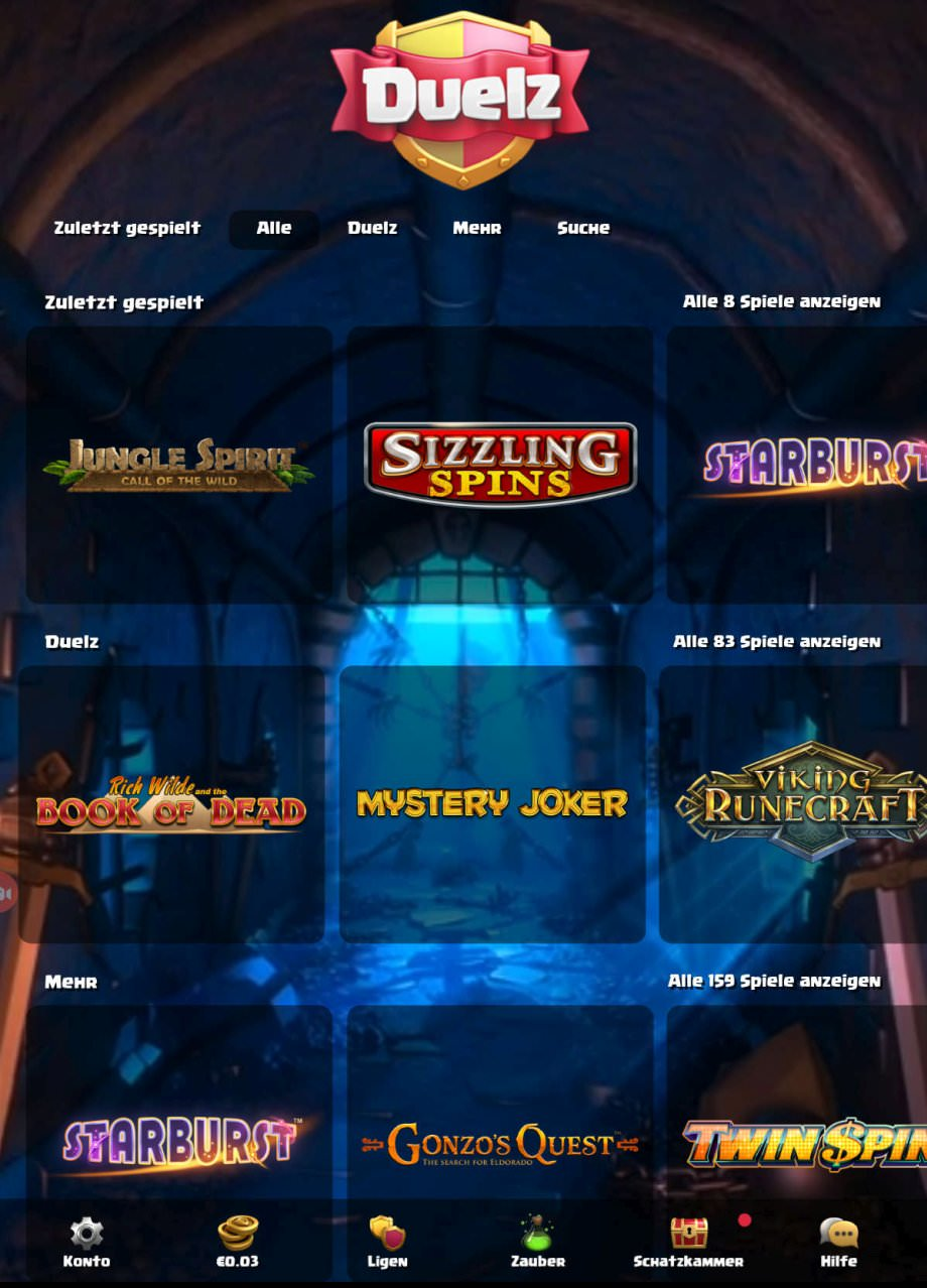 Spielauswahl beim neuen Mobile Casino Duelz.com