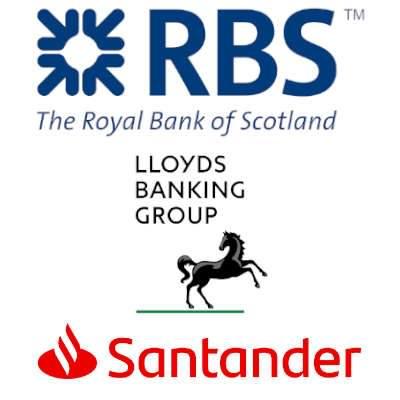 Die Logos der Banken Lloyds, Royal Bank of Scotland und Santander