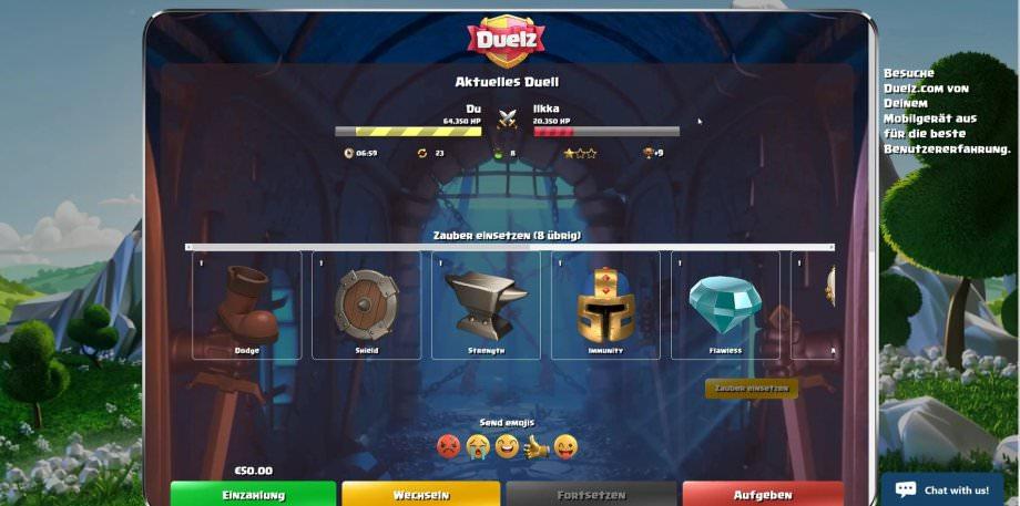 Duelz-Übersichtseite bei aktivem Duell