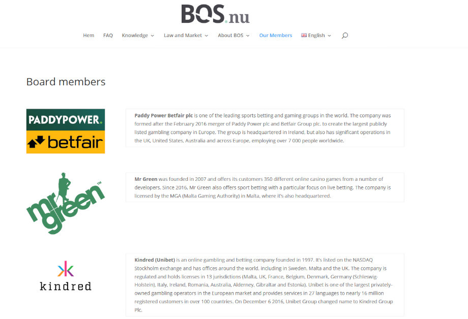 Die Webseite vom Handelsverband BOS