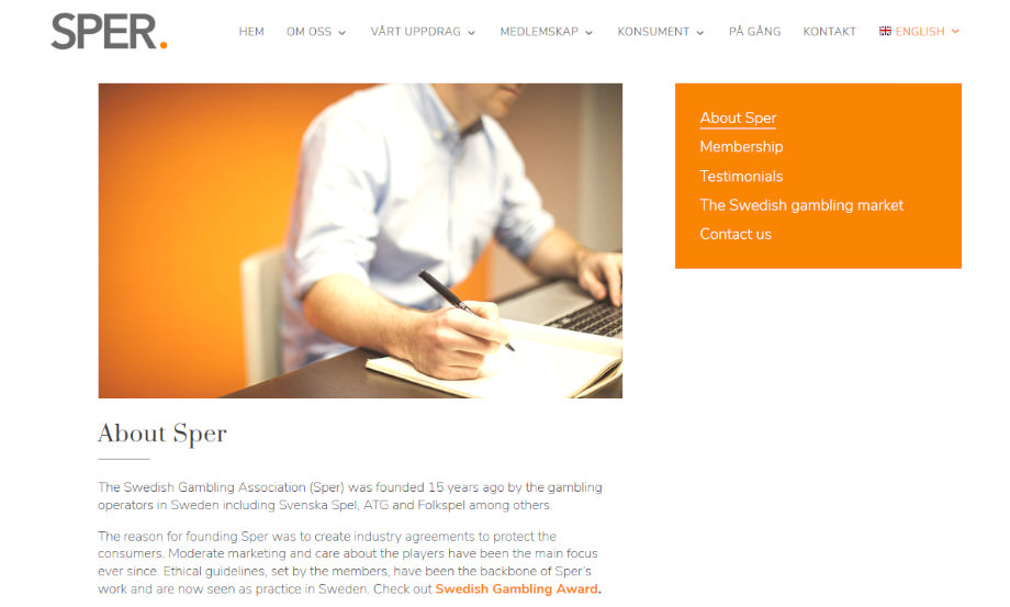 Die Webseite von SPER