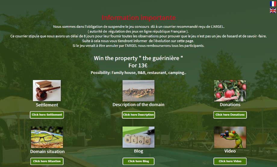 Webseite zur Verlosung von La Guérinière