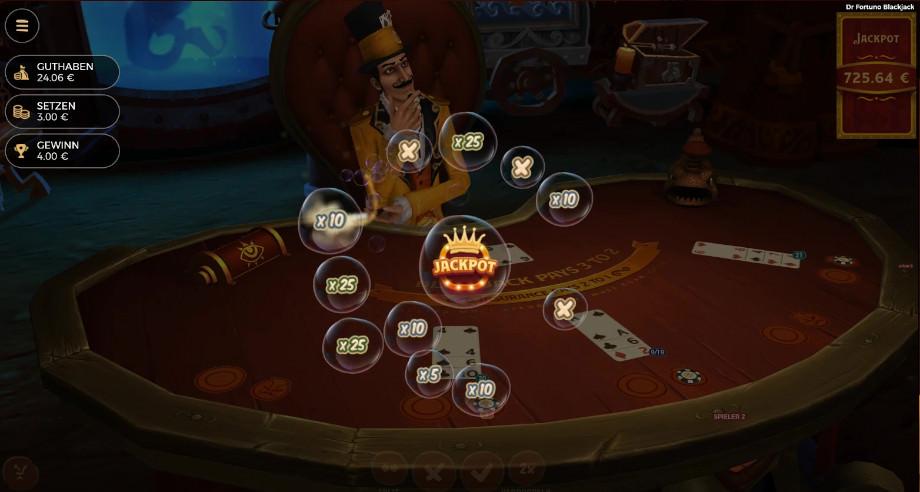 Die Jackpot-Ausspielung bei Dr Fortuno Blackjack
