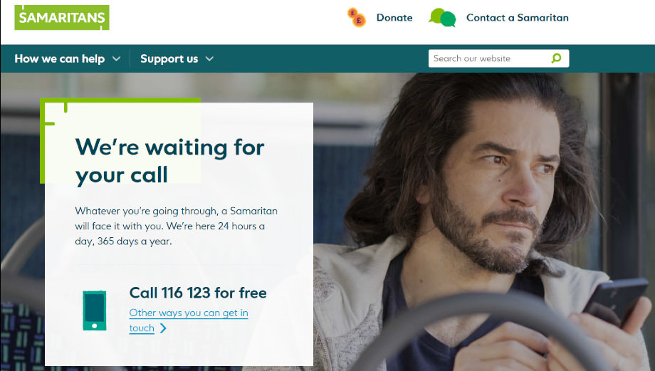Die Webseite der britischen Samaritans