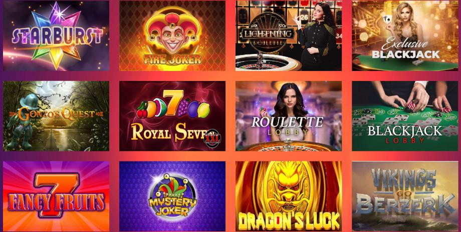 Ausschnitt der Casino God Spielauswahl