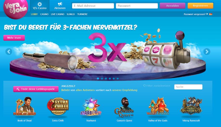 Webseite vom Vera&John Casino