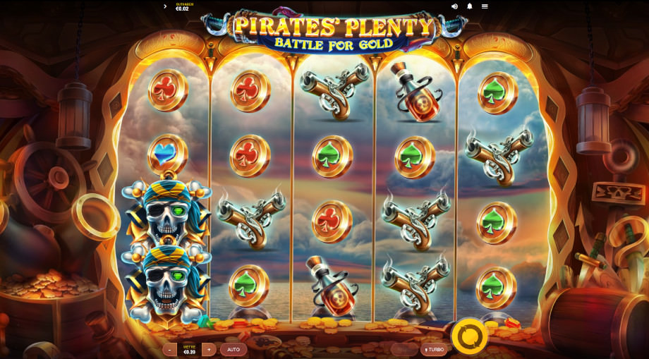 Beispiel für einen Red Tiger Slot: Pirates Plenty Battle for Gold