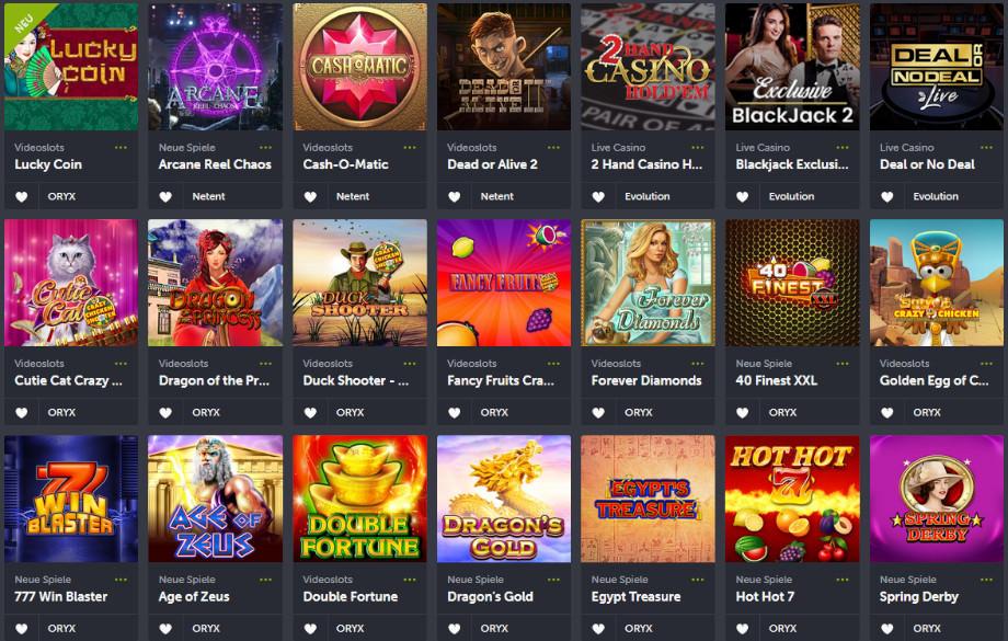 Spielauswahl beim ComeOn! Casino