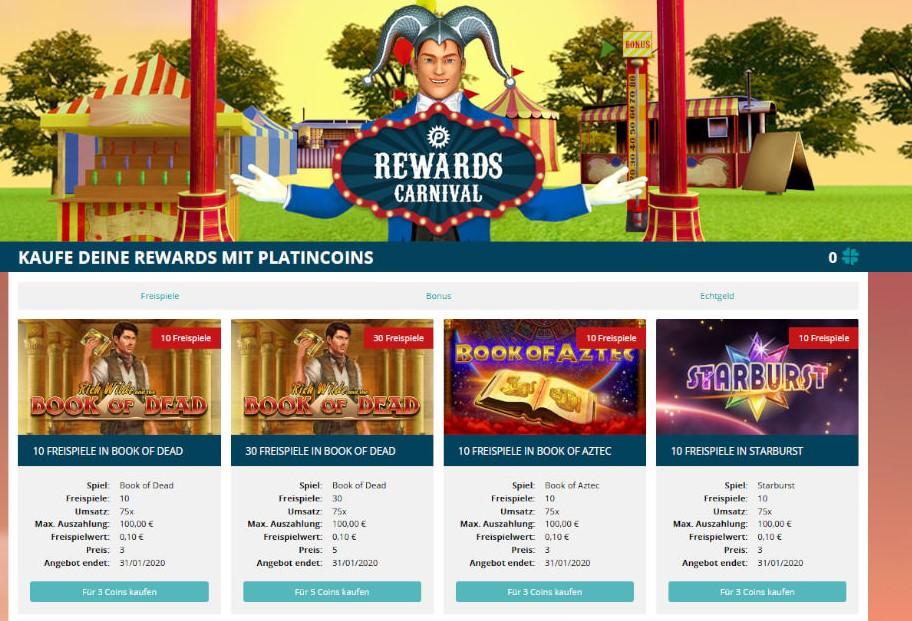 Der Platin Casino Bonusshop