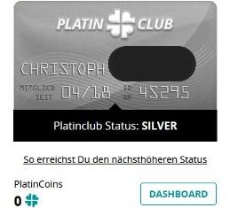 Die Silver Card beim Platincasino