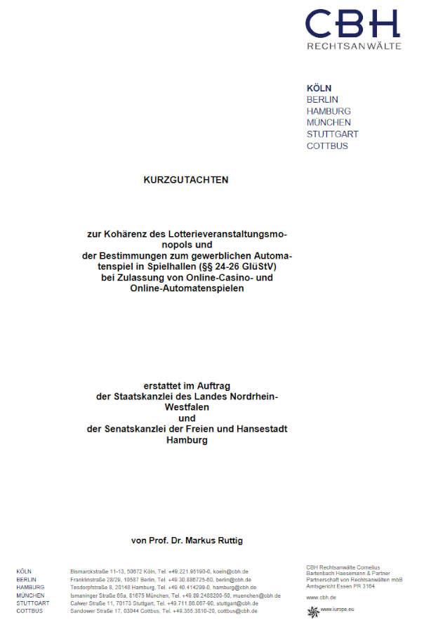 Deckblatt des neue Gutachtens zur Rettung des Lottomonopols
