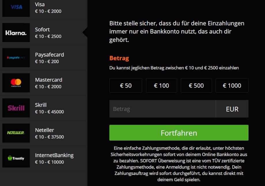 Ein- und Auszahlung bei Casino Winner