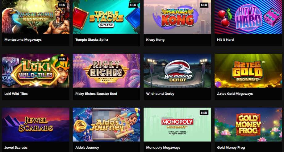 Spielauswahl bei Casino Winner