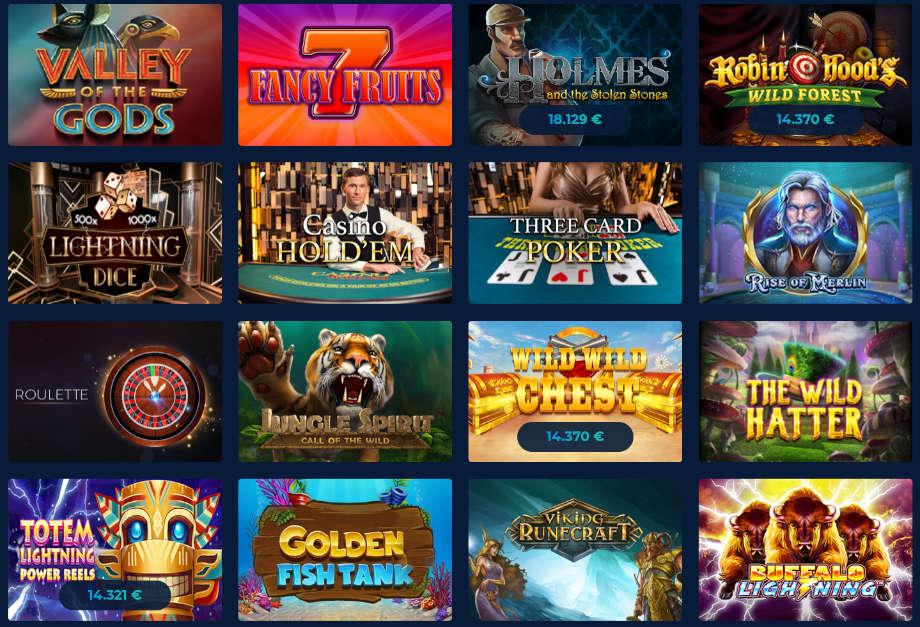 Ausschnitt der Spielauswahl bei Casino Planet