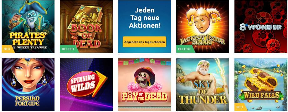 Verschiedene Casino Spiele bei DrückGlück