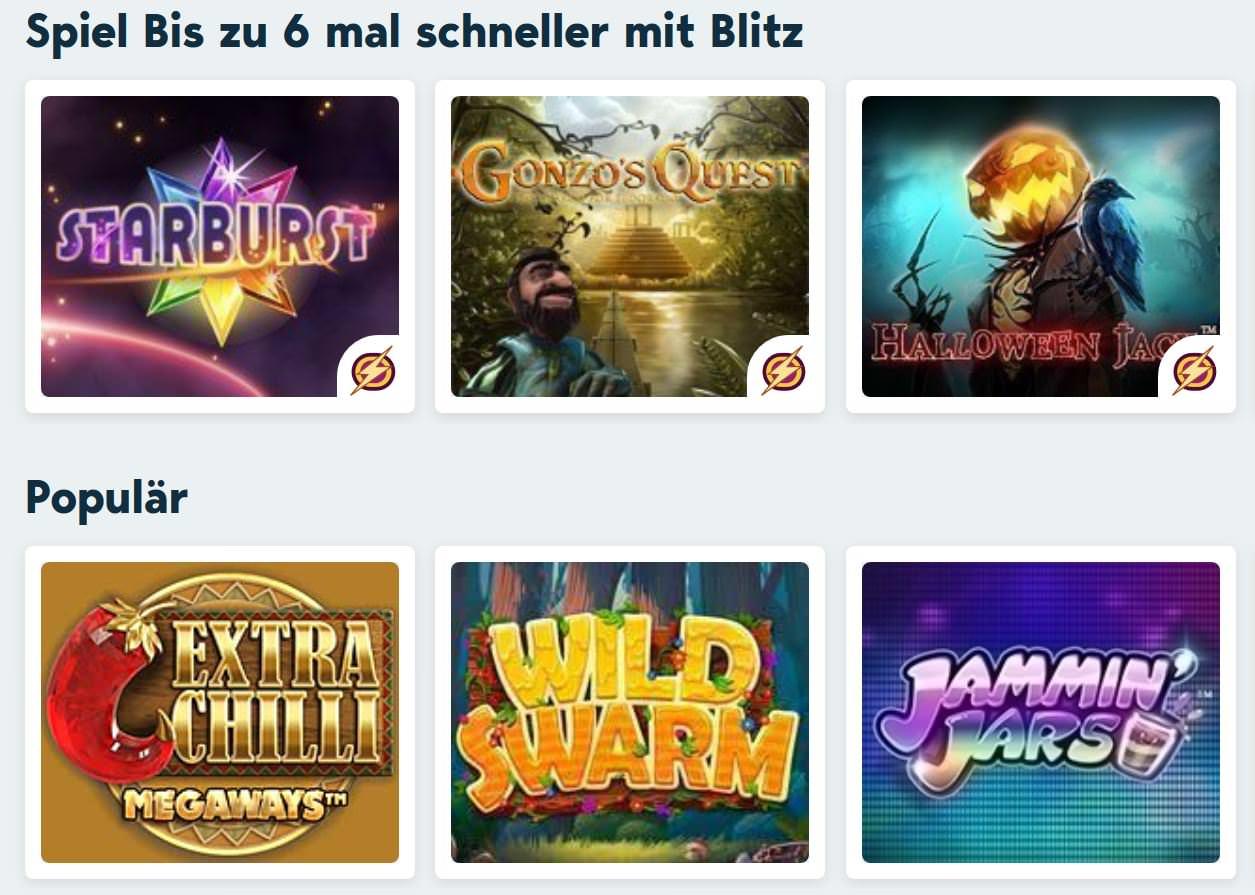 Verschiedene Casino Spiele bei Speedy