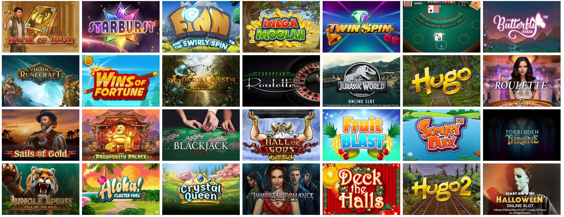 Verschiedene Casino Spiele bei Vegas Hero