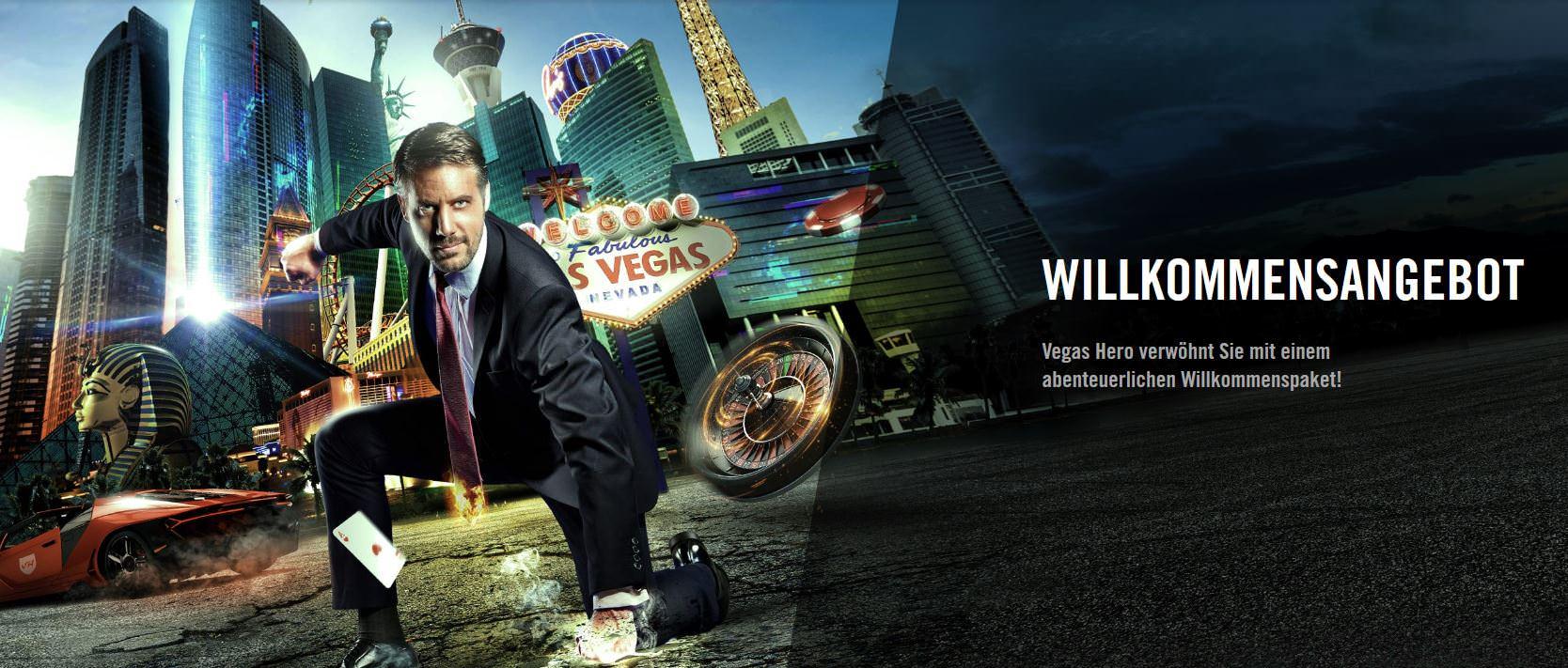 Willkommenspaket bei Vegas Hero