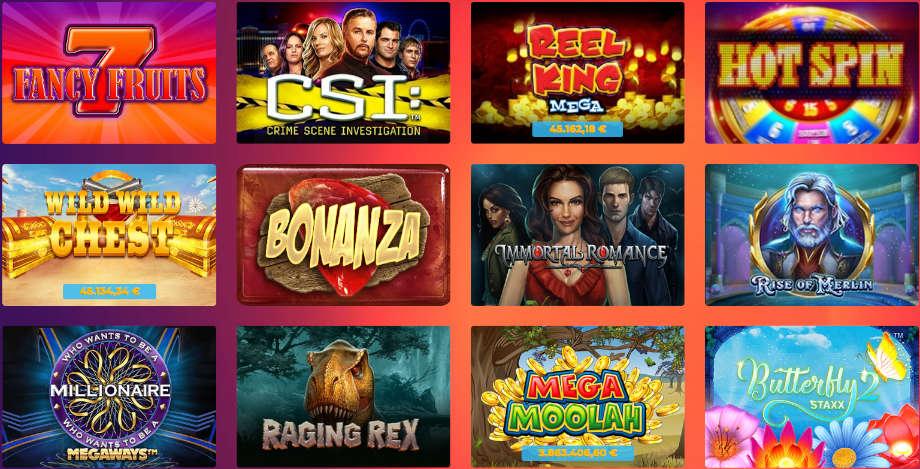 Verschiedene Casino Spiele bei Casino Gods