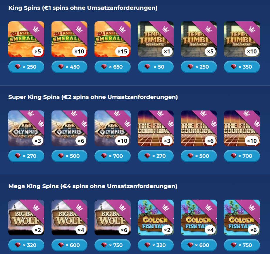 Umsatzfreie Spins im Casino Heroes Bonusshop