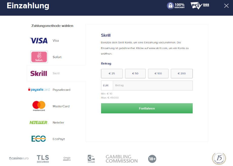 Menü für Ein- und Auszahlungen bei CasinoEuro