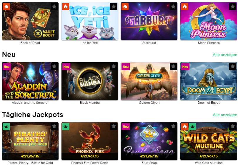Verschiedene Casino Spiele bei Fortune Legends