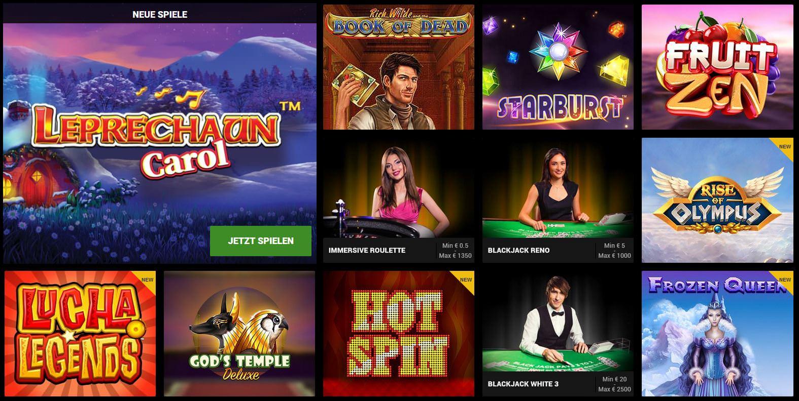 Verschiedene Casino Spiele bei GOWILD