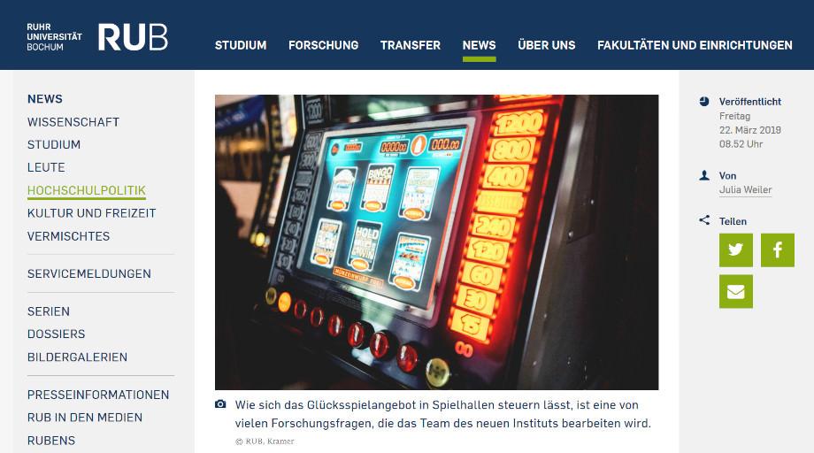 Uni-Webseite von Bochum mit der Ankündigung von GLÜG