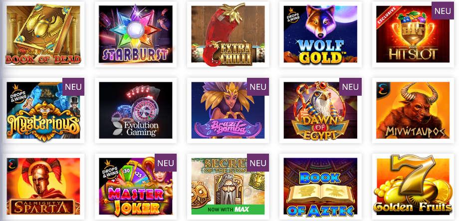 Verschiedene Casino Spiele bei Lord Lucky